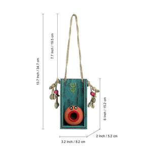 'Oasis Pot-Face' Hand-Painted Decorative Wall Hanging In Terracotta & Wood