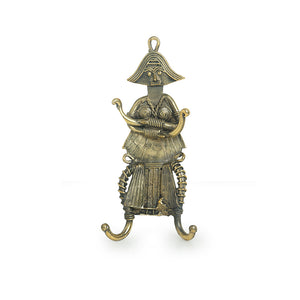 """Tribal Warrior"" Brass Key Holder Handmade in Dhokra Art (4 Hooks)"