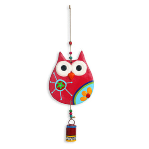 """Flowery Owl"" Handmade & Hand-painted Garden Decorative Wall Hanging Bell In Terracotta"