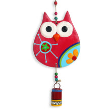 "Load image into Gallery viewer, ""Flowery Owl"" Handmade & Hand-painted Garden Decorative Wall Hanging Bell In Terracotta"