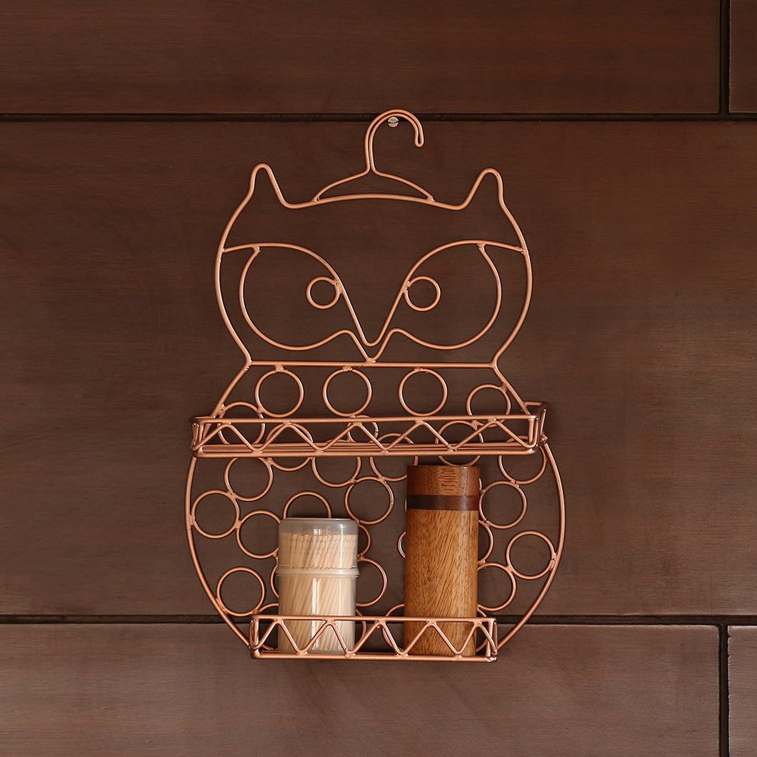 'The Wise Old Owl' Handwired Kitchen-Bathroom Storage Wall Shelf In Iron (11 Inch, Copper Finish)