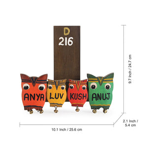 'Owl Family' Customizable Wooden Name Plate (Handwritten Fonts)