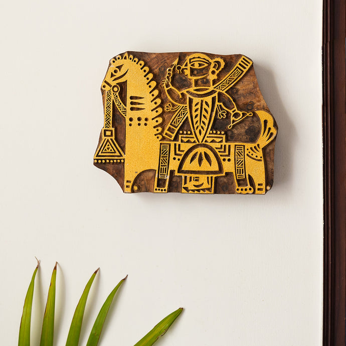 'Madhubani Warrior' Hand Carved Block Wall Décor In Sheesham Wood