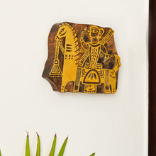 Load image into Gallery viewer, 'Madhubani Warrior' Hand Carved Block Wall Décor In Sheesham Wood