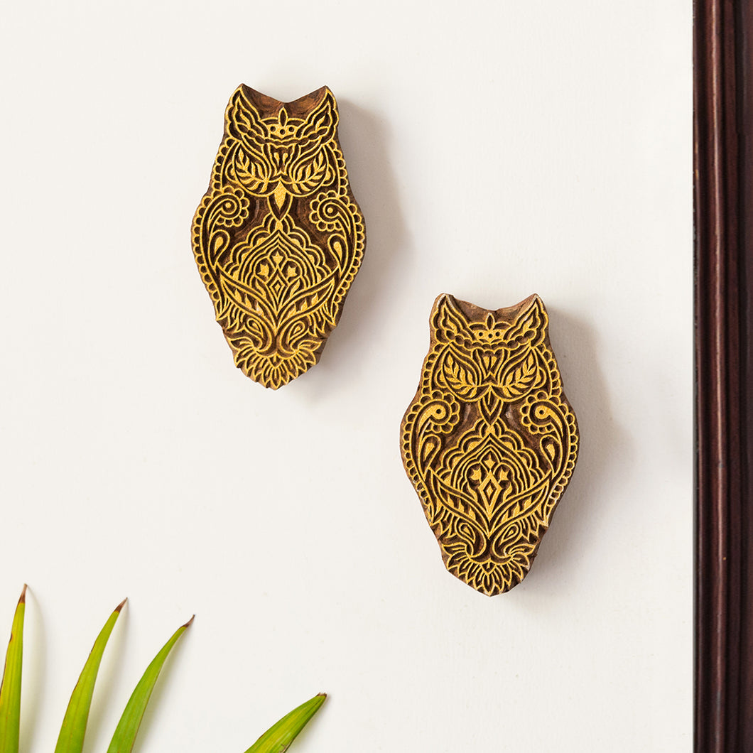 'Owl Pair' Hand Carved Block Wall Décor In Sheesham Wood (Set of 2)
