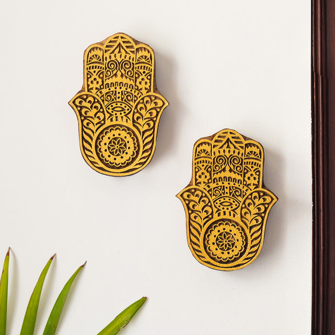 'Palm Pair' Hand Carved Block Wall Décor In Sheesham Wood (Set of 2)