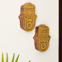 Load image into Gallery viewer, 'Palm Pair' Hand Carved Block Wall Décor In Sheesham Wood (Set of 2)