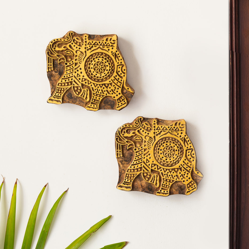 'Tusker Duo' Hand Carved Block Wall Décor In Sheesham Wood (Set of 2)
