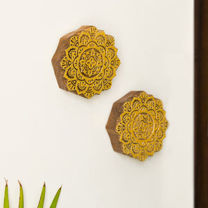 'Mandala Pair' Hand Carved Block Wall Décor In Sheesham Wood (Set of 2)