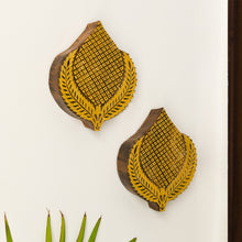 Load image into Gallery viewer, 'Betel Pair' Hand Carved Block Wall Décor In Sheesham Wood (Set of 2)