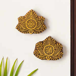 'Lotus Pair' Hand Carved Block Wall Décor In Sheesham Wood (Set of 2)