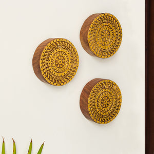 'Mandala Triplets' Hand Carved Block Wall Décor In Sheesham Wood (Set of 3)