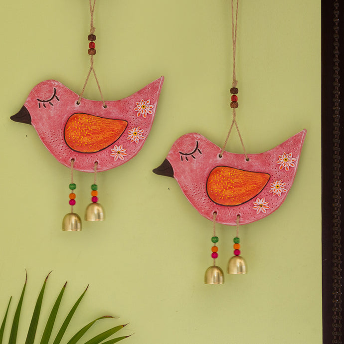 'Chipping Sparrows' Handmade & Hand-painted Decorative Wall Hanging In Terracotta (Set of 2)