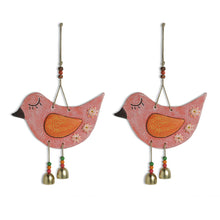 Load image into Gallery viewer, 'Chipping Sparrows' Handmade & Hand-painted Decorative Wall Hanging In Terracotta (Set of 2)