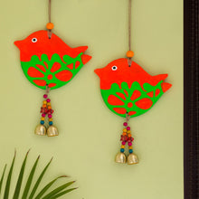 Load image into Gallery viewer, 'Song Sparrows' Handmade & Hand-painted Decorative Wall Hanging In Terracotta (Set of 2)