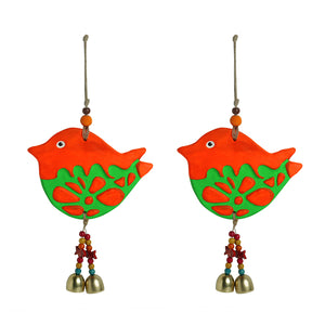 'Song Sparrows' Handmade & Hand-painted Decorative Wall Hanging In Terracotta (Set of 2)