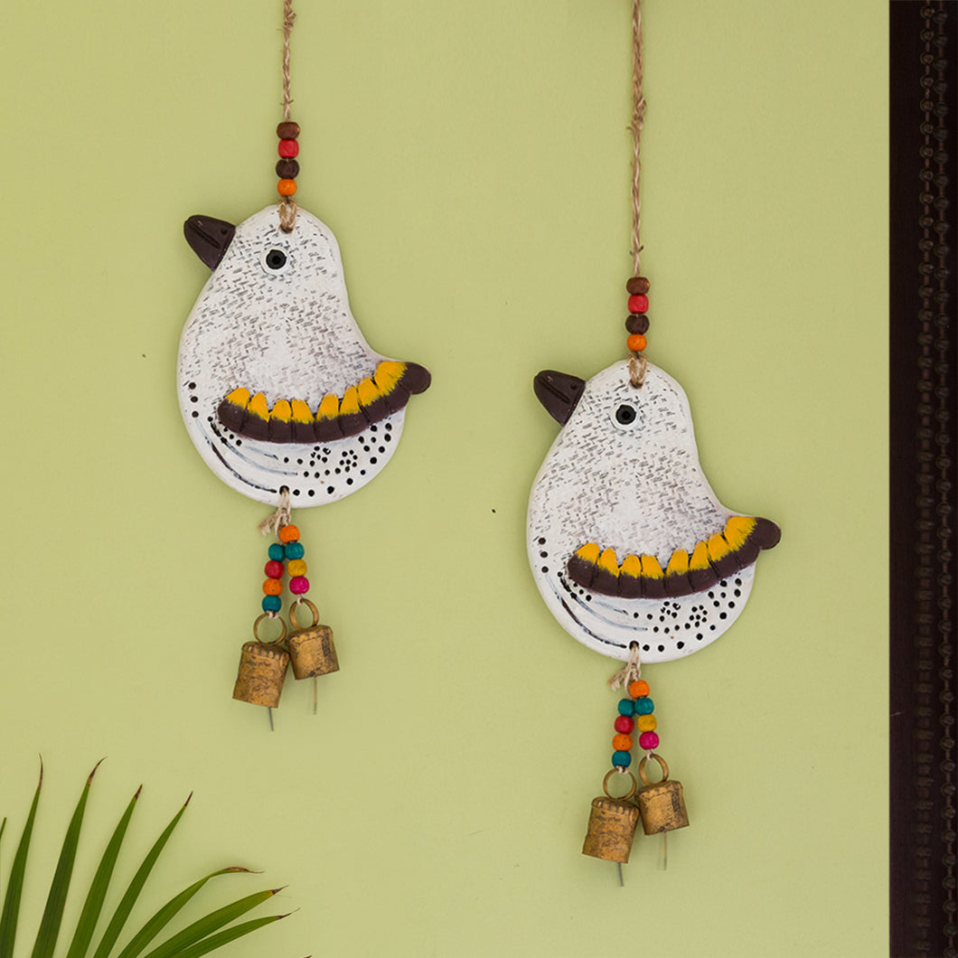 'The Finch Twins' Handmade & Hand-painted Decorative Wall Hanging In Terracotta (Set of 2)