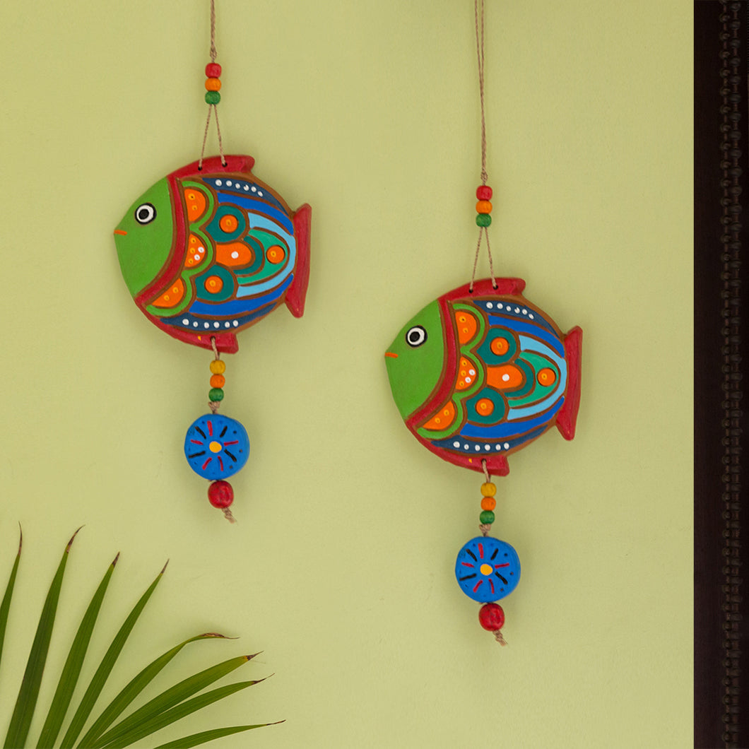 'The Fish Twins' Handmade & Hand-painted Decorative Wall Hanging In Terracotta (Set of 2)