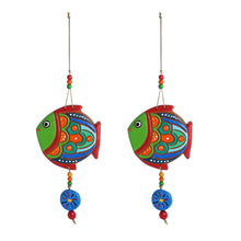 Load image into Gallery viewer, 'The Fish Twins' Handmade & Hand-painted Decorative Wall Hanging In Terracotta (Set of 2)