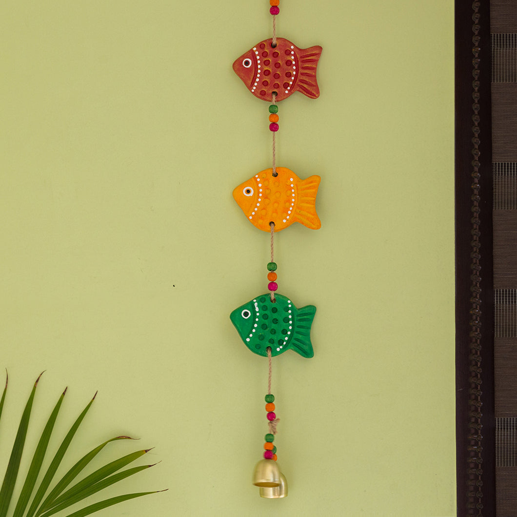 'The Fish Family' Handmade & Hand-painted Decorative Wall Hanging In Terracotta