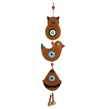 Load image into Gallery viewer, 'Owl & Sparrow' Handmade & Hand-painted Decorative Wall Hanging In Terracotta