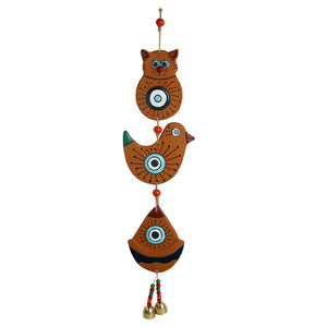 'Owl & Sparrow' Handmade & Hand-painted Decorative Wall Hanging In Terracotta