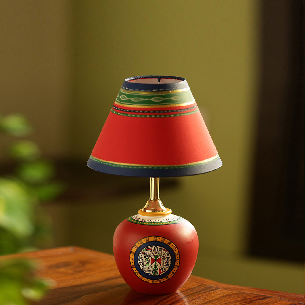 13 Inch Terracotta Handpainted Warli Matki Lamp Red