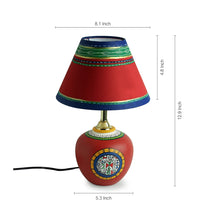 Load image into Gallery viewer, 13 Inch Terracotta Handpainted Warli Matki Lamp Red