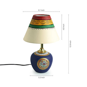 13 Inch Terracotta Handpainted Warli Matki Lamp Blue