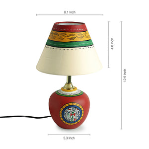 13 Inch Terracotta Handpainted Warli Matki Lamp In Red