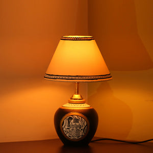 'Glow & Shimmer' Matki Shaped Inctricate Madhubani Hand-Painted Table Lamp In Terracotta (13 Inches)