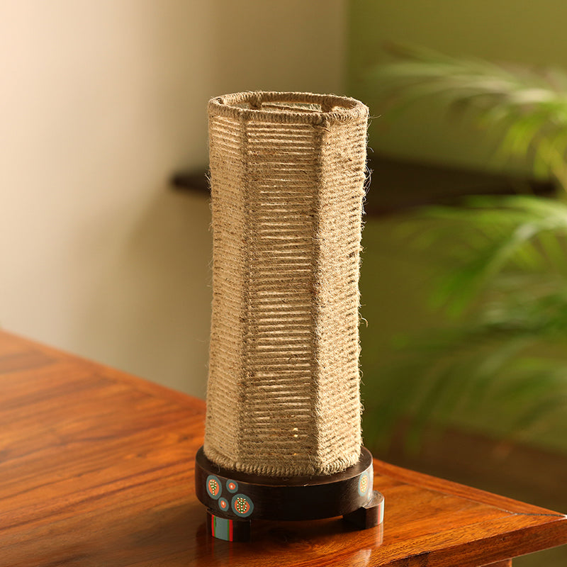 'Desert Shimmer' Handwoven Hexagonal Table Lamp In Teak Wood (14 Inch)