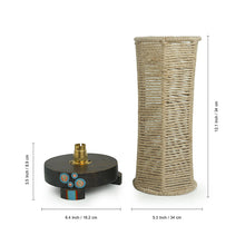 Load image into Gallery viewer, 'Desert Shimmer' Handwoven Hexagonal Table Lamp In Teak Wood (14 Inch)