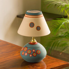 'Oasis In Light' Matki Shaped Hand-painted Table Lamp In Terracotta (13 Inches)