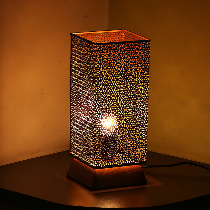 Moroccan Shimmer Hand Etched Iron & Mango Wood Table Lamp (12 Inch, Black)