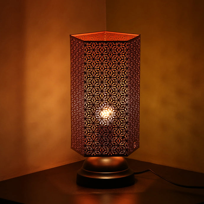 Moroccan Shimmer Hand Etched Iron Table Lamp (13 Inch, Copper)