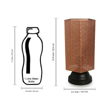 Load image into Gallery viewer, Moroccan Shimmer Hand Etched Iron Table Lamp (13 Inch, Copper)