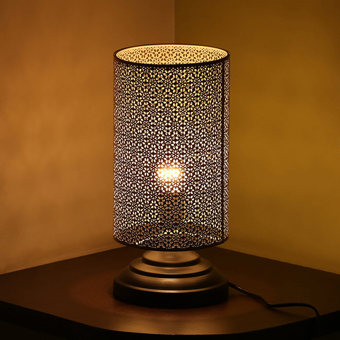 Moroccan Shimmer Hand Etched Iron Table Lamp (12 Inch, Golden)