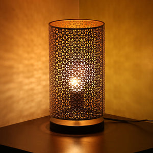 Moroccan Shimmer Hand Etched Iron Table Lamp (12 Inch, White)