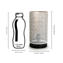 Load image into Gallery viewer, Moroccan Shimmer Hand Etched Iron Table Lamp (12 Inch, White)