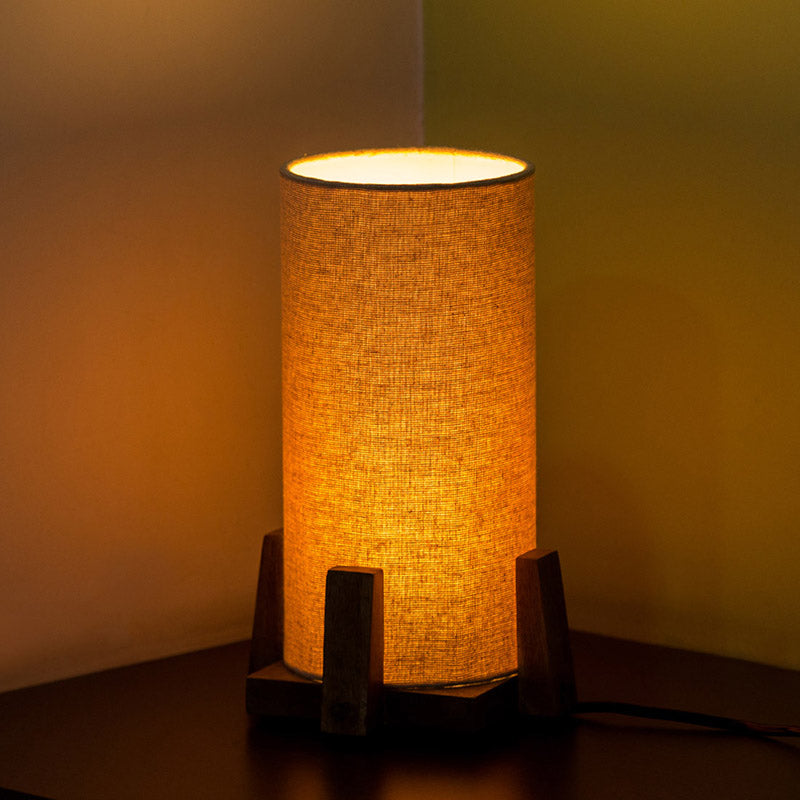 ''Tesla'' Round Table Lamp In Mango Wood 11 inch