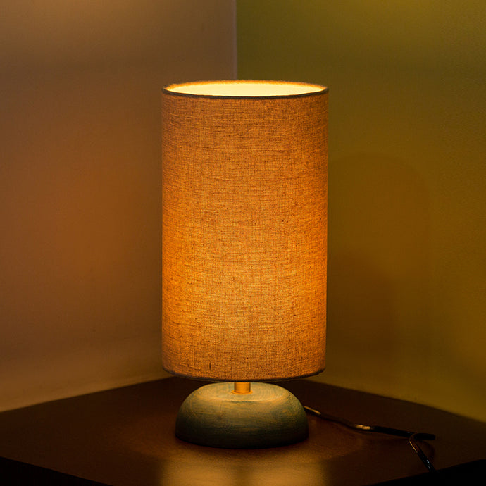 ''Faraday'' Round Table Lamp In Mango Wood 13 inch
