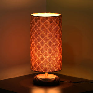 ''Moroccan'' Round Table Lamp In Mango Wood 14 inch