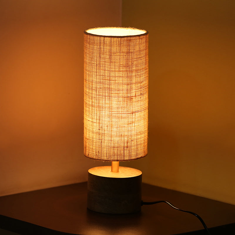 ''Volta'' Round Table Lamp In Mango Wood 14 inch