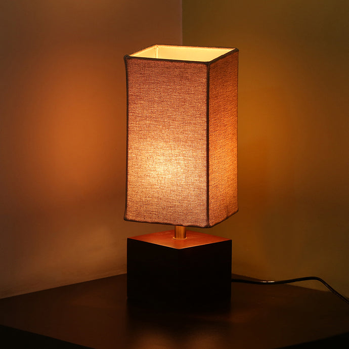 ''Elementary'' Cubic Table Lamp In Mango Wood 12 inch