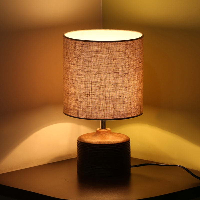 ''Starlight'' Round Table Lamp In Mango Wood 14 inch