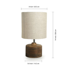 Load image into Gallery viewer, ''Starlight'' Round Table Lamp In Mango Wood 14 inch