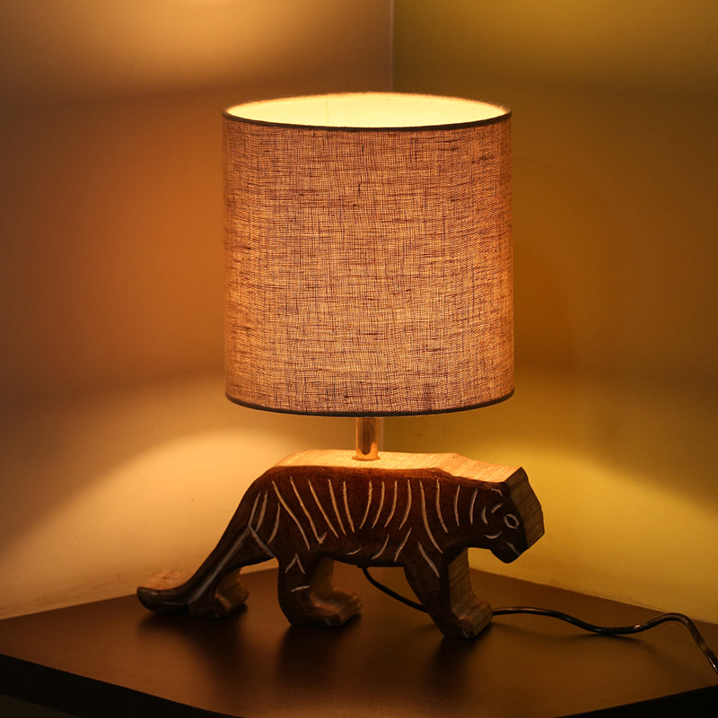 ''Tiger Panthera'' Handcarved Table Lamp In Mango Wood 15 inch
