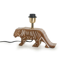 Load image into Gallery viewer, ''Tiger Panthera'' Handcarved Table Lamp In Mango Wood 15 inch