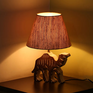 ''Imperial Camel'' Handcarved Table Lamp In Mango Wood 16 inch